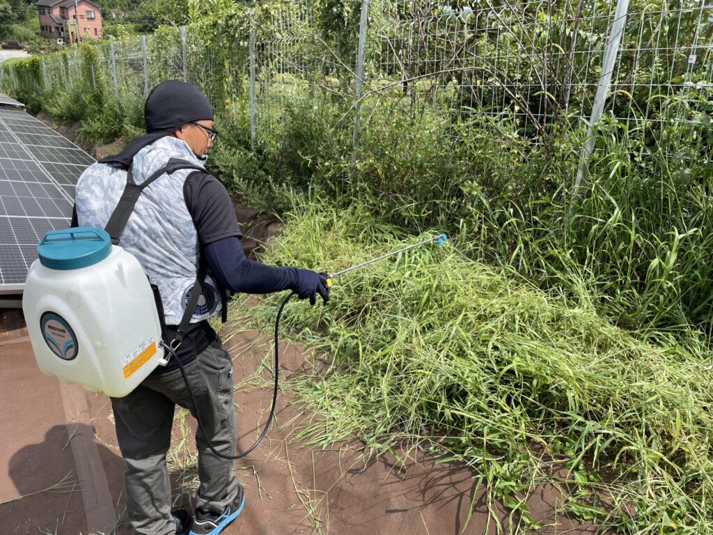 三重県多気郡多気町太陽光発電所4区画除草作業